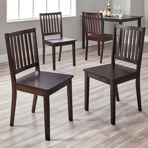 Tribecca Home Acton Warm Merlot X Back Casual Dining Side: Simple Living Slat Espresso Rubberwood Dining Chairs (Set