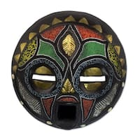 Handmade Sese Wood 'Girl Grows Up' African Mask (Ghana) - Blue/Green/Red/Yellow - N/A