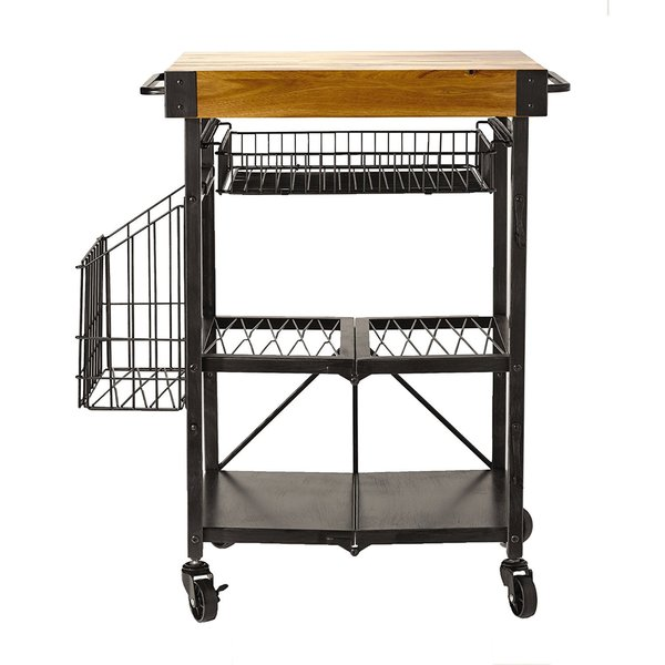 Gb Artesia Metal Folding Kitchen Cart With Acacia Wood Block And Basket Storage image