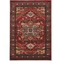 PowerLoomed Serape Mahal Red Polyester Rug - 2' X 3'