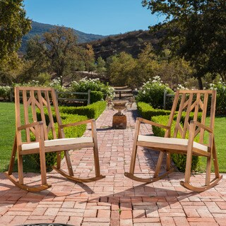 Nuna Outdoor Wood Rocking Chair w/ Cushion (Set of 2) by Christopher Knight Home