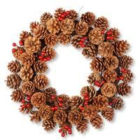 National Tree Company Rattan 20-inch Pinecone Wreath