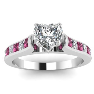 14k White Gold GIA-certified 1 1/10ct TDW Heart-cut Diamond and Sapphire Cathedral Engagement Ring