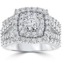 10k White Gold 3ct TDW Diamond Double Halo Trio Bridal Ring Set