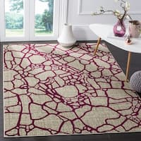 Safavieh Porcello Modern Abstract Light Grey/ Yellow Rug - 6' x 9'