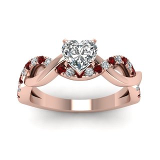 14k Rose Gold GIA-certified 3/4ct TDW Heart-cut Diamond and Ruby Engagement Ring