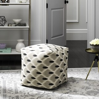 Safavieh Pierre Grey, Black and Natural Pouf