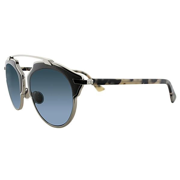 9bd3c41b4100d Dior Dior So Real Leather P7Q 8N Palladium Grey Fog Havana Metal Aviator Blue  Mirrored Lens