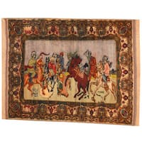 Herat Oriental Semi-Antique 1960's Afghan Hand-knotted Pictorial Turkoman Wool Rug (3'8 x 4'8)