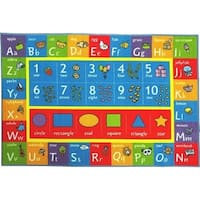 KC Cubs Playtime Collection ABC Alphabet, Numbers, and Shapes Multicolor Polypropylene Educational Area Rug - 5' x 6'6