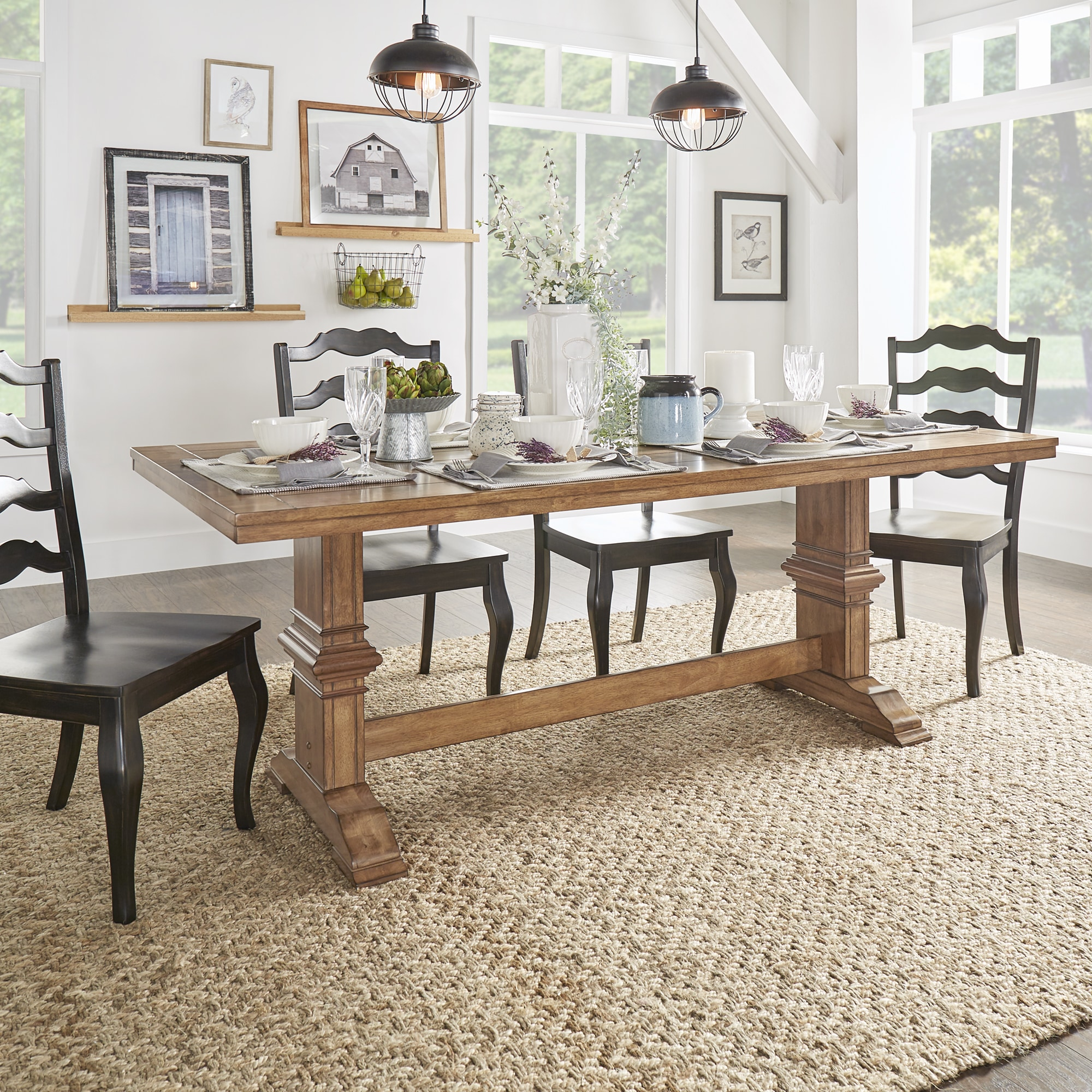 Modern Antique Traditional Modern Style Cherry Oak 9pc: Eleanor Two-tone Rectangular Solid Wood Top Dining Table