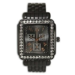 Olivia Pratt Women's Metal Rhinestone Bezel Rectangular 3-dial Bangle Watch