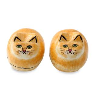 Handmade Pair of 2 Papier Mache Boxes, 'Charismatic Cats' (India)