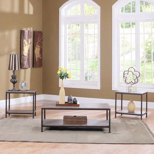 3 piece modern rectangular coffee table and 2 end tables for Living room 3 piece table sets