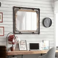 Furniture of America Revo Industrial Antique Black Framed Wall Mirror