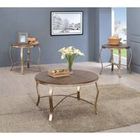 Furniture of America Tayla Contemporary 3-piece Glam Champagne Round Accent Table Set