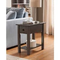 Clay Alder Home Van Metre Sutton Brushed Grey Wood, MDF Side Table with Charging Station
