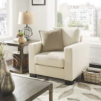 Torrington White Linen Fabric Down Filled Track Arm Accent Chair by iNSPIRE Q Artisan