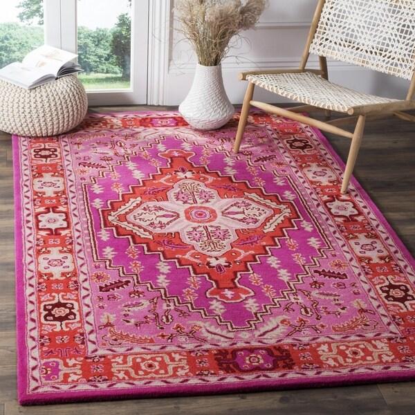 Safavieh Bellagio Handmade Bohemian Red/ Pink Wool Rug - 2'6 x 4'