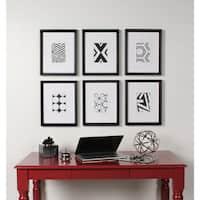 Kate and Laurel Calder 6 Piece Framed Black and White Print Art Set