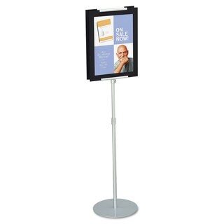 Quartet Adjustable Sign Stand Metal Stands 44-inch - 73-inch High Silver