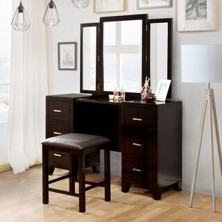 Furniture of America Elrich Modern 2-piece Espresso Tri-fold Mirror Vanity and Stool Set