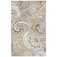 Rizzy Home Suffolk Gray Paisley Hand-tufted Wool Rug (3' x 5')