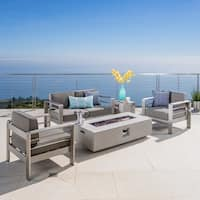 Cape Coral Outdoor 5-piece Chat Set with Fire Table and Optional Sunbrella Cushions by Christopher Knight Home
