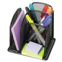 Safco Onyx Mini Organizer with Three Compartments Black 6 x 5 1/4 x 5 1/4
