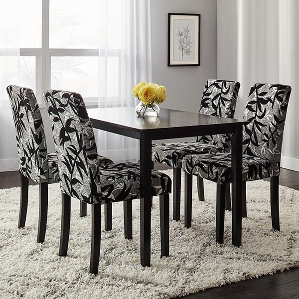 Overstock Dining Set: Simple Living Parson Black And Silver 5-Piece Dining Table