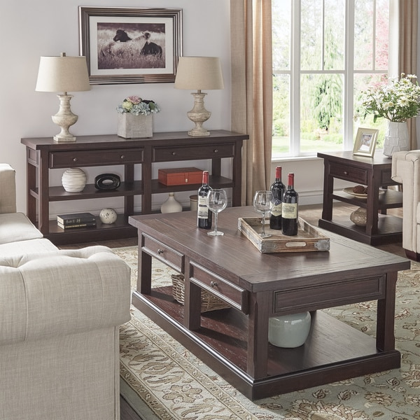 Jenson Espresso Wood Accent Tables by iNSPIRE Q Classic