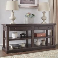 Jenson Espresso Wood 2-Drawer Sofa Table TV Stand by iNSPIRE Q Classic
