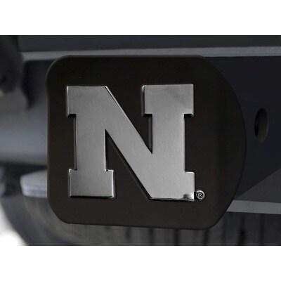 Fanmats Nebraska Black Chrome Hitch Cover