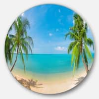 Designart 'Tropical Beach with Coconut Trees' Landscape Photo Circle Wall Art