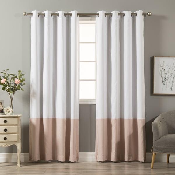 Aurora Home Color Block Cotton Blend Blackout Curtain Panel Pair