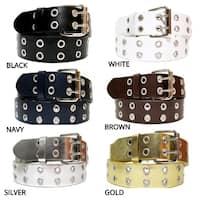 EMP Unisex White Bonded-leather Grommet 2-holes Belt