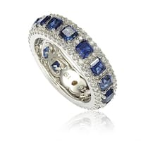 Suzy Levian Sterling Silver Sapphire and Diamond Modern Eternity Band - Blue