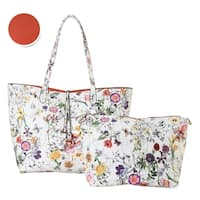 Diophy Floral Large 2-tone Reversible Tote with Crossbody Bag 2 Pieces Set