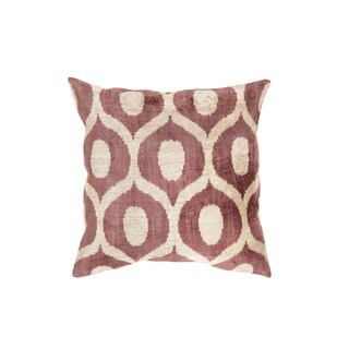 Pasargad Ikat Beige and Maroon Velvet 23-inch Turkish Pillow