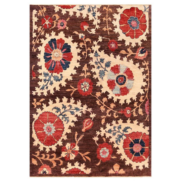 Vegetable Dyed Hand Knotted Floral Oushak Ivory Persian: Herat Oriental Afghan Hand-knotted Vegetable Dye Suzani