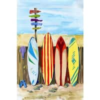 Marmont Hill - 'Honey I've Gone Surfing' Painting Print on Wrapped Canvas - Blue