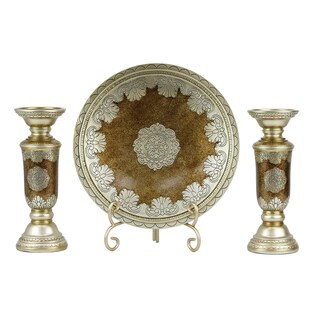 D'Lusso Designs Angelique Collection Charger, Stand, and Two Candlesticks Four-piece Set