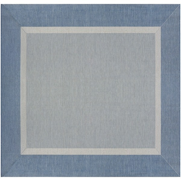 Couristan Recife Stria Texture/Champagne-Blue Square Outdoor Area Rug - 7'6 x 7'6