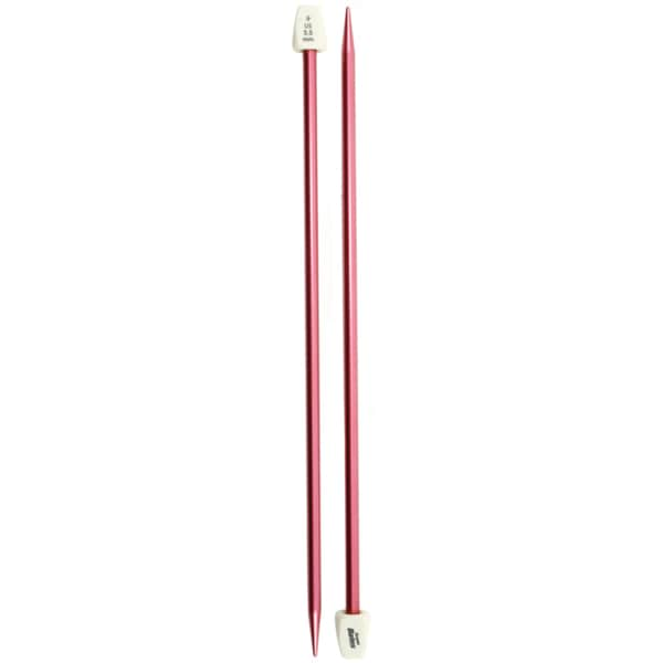 Susan Bates 10-Inch Silvalume Single Point Knitting Needle Red 5.5mm