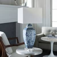 Karilya Table Lamp with Blue Base and White Shade