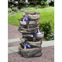 Zenvida 19-inch Rock LED Lights Waterfall Fountain