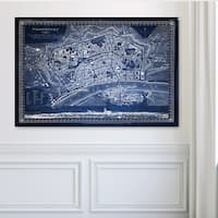Antique Map Frankfurt Blue - Premium Gallery Wrapped Canvas