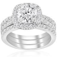 14k White Gold 2 3/4 ct TDW Cushion Halo Diamond Engagement Clarity Enhanced Trio Wedding Ring Set