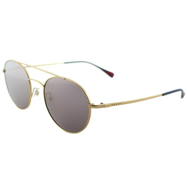 06c676e9153 Prada Linea Rossa PS 51SS 1BK5T0 Panthos Matte Gold Metal Round Sunglasses  Pink Mirror Lens