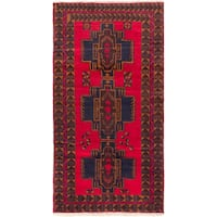 ecarpetgallery Hand-Kotted Royal Balouch Red  Wool Rug (3'5 x 6'4)